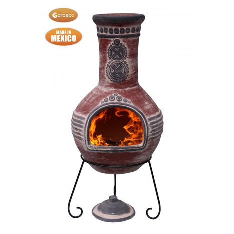 Gardeco Azteca XL Mexican Chimenea in red with grey mouth and top