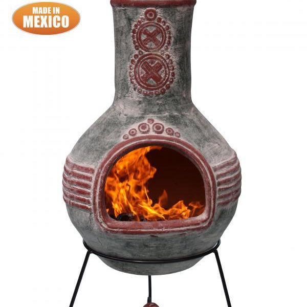 Gardeco Azteca XL Mexican Clay Chimenea in green and red