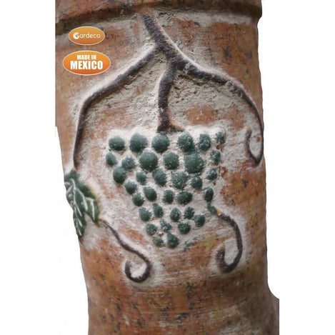 Extra-Large Mexican Grapes chimenea in rustic orange, inc stand and lid