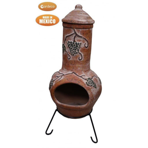 Large Mexican Grapes chimenea in rustic orange, inc stand and lid