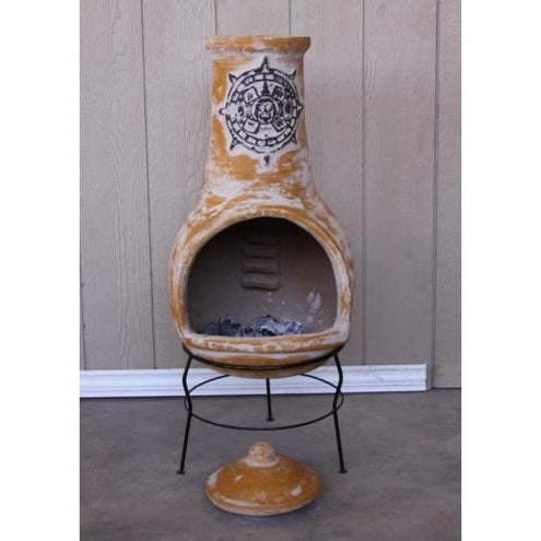 Extra-Large Tulum Mexican Chimenea in yellow, inc stand and lid