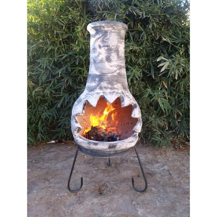 Extra-large Luna Mexican Chimenea in dark grey, inc stand and lid