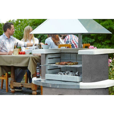 Buschbeck Zurich Masonry Wood Fired BBQ with Stainless Steel Hood