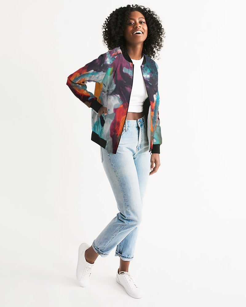Woman's Abstract Rust - Bomber Jacket - FO