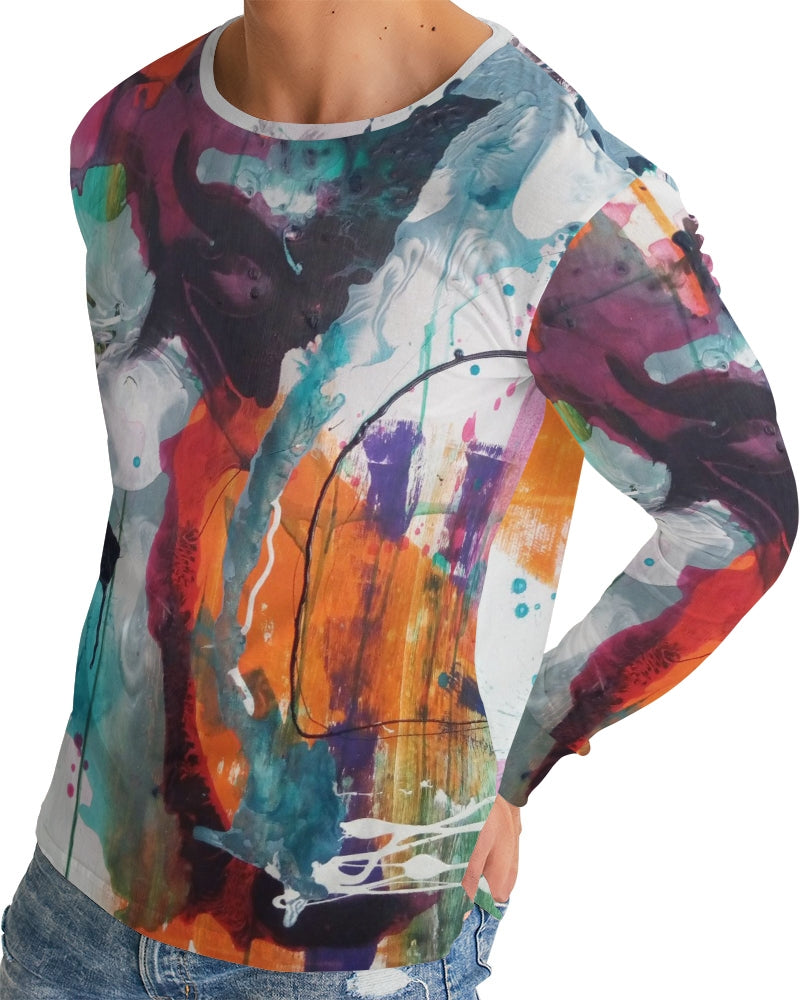 Men's Abstract Rust Long Sleeve Top - FO