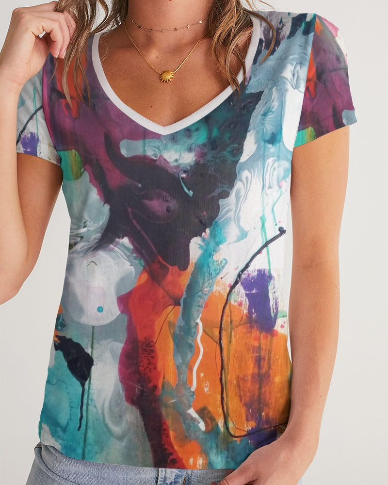 Woman's Abstract Rust - V-Neck T-Shirt - FO