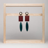 Rust Green Resin Earrings