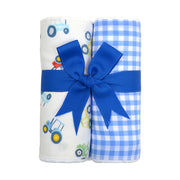 Tractor Set of Two Fabric Burps