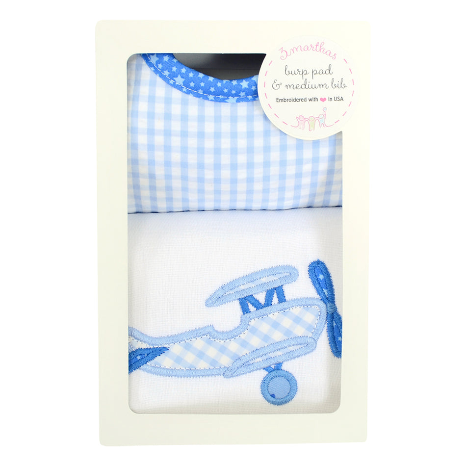 Airplane Basic Bib & Burp Box Set
