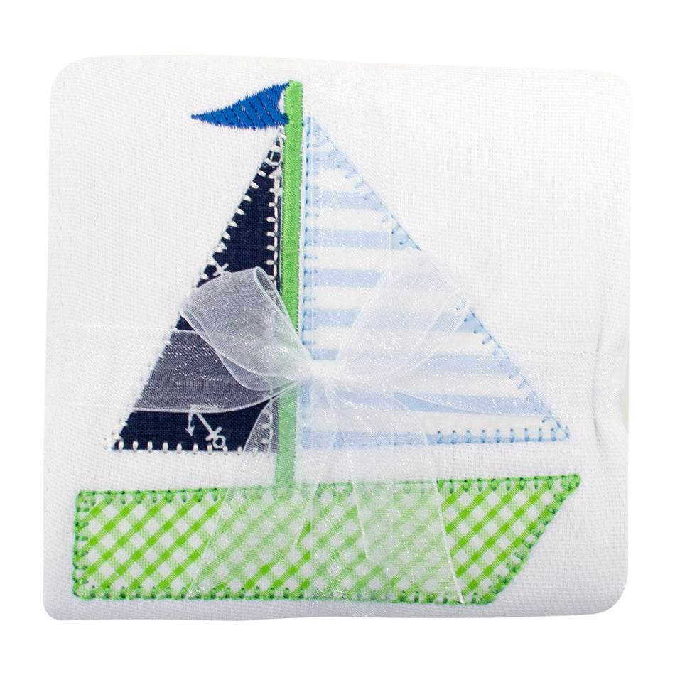Sailboat Appliqued Burp