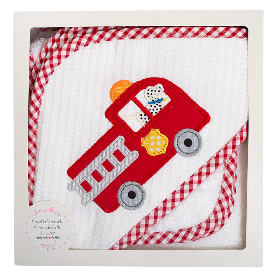 Firetruck Boxed Hooded Towel Set