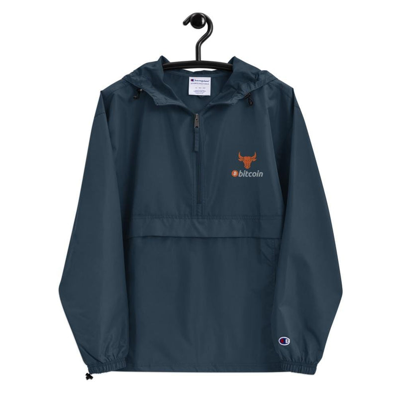 Bitcoin Bull Embroidered Champion Packable Jacket - Crypto Cove