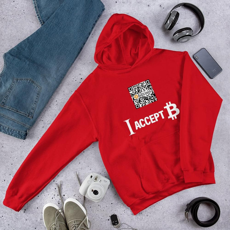 I accept Bitcoin Hoodie with Custom QR - Crypto Cove