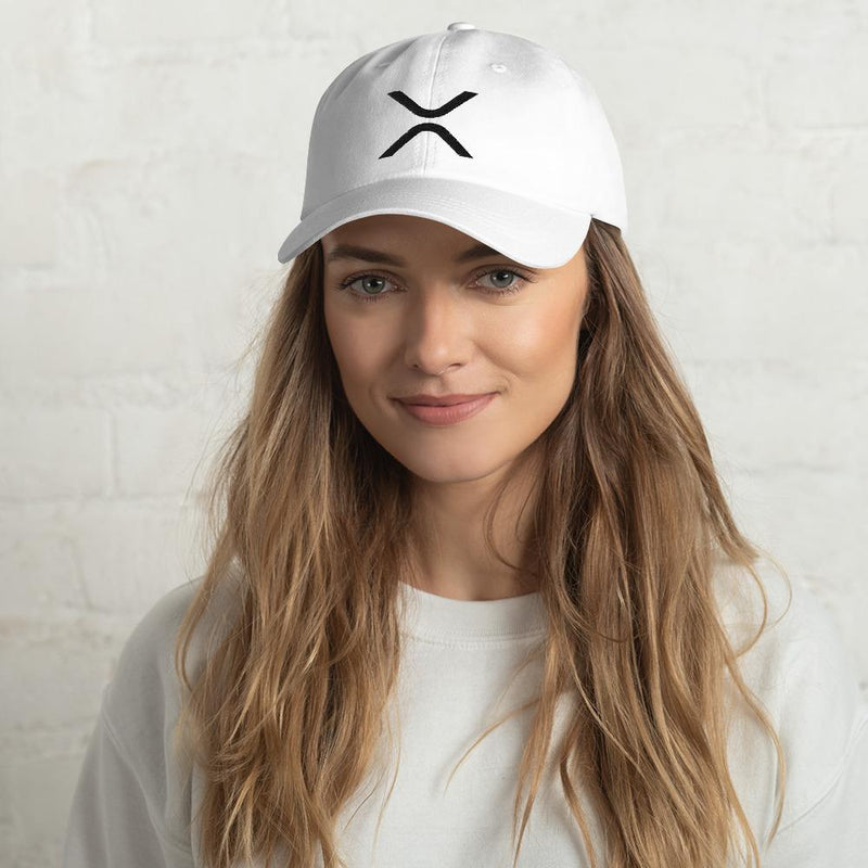XRP Black on White Ripple Dad hat