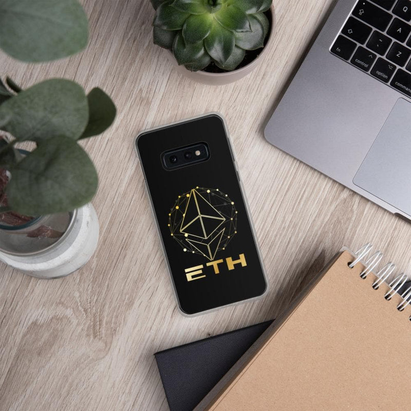 Gold on black ETH Ethereum Samsung Case - Crypto Cove