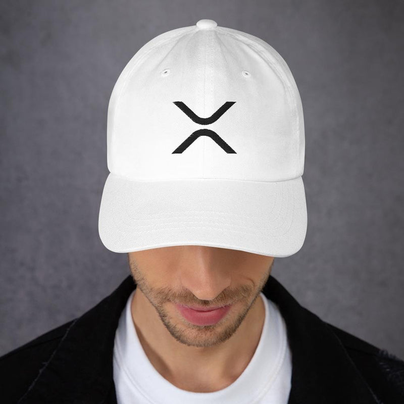 XRP Black on White Ripple Dad hat - Crypto Cove