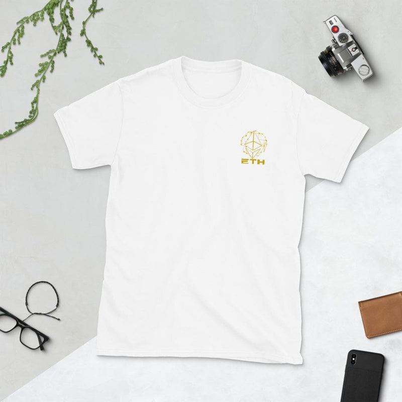 Gold ETH Diamond Embroidered Unisex T-Shirt - Crypto Cove