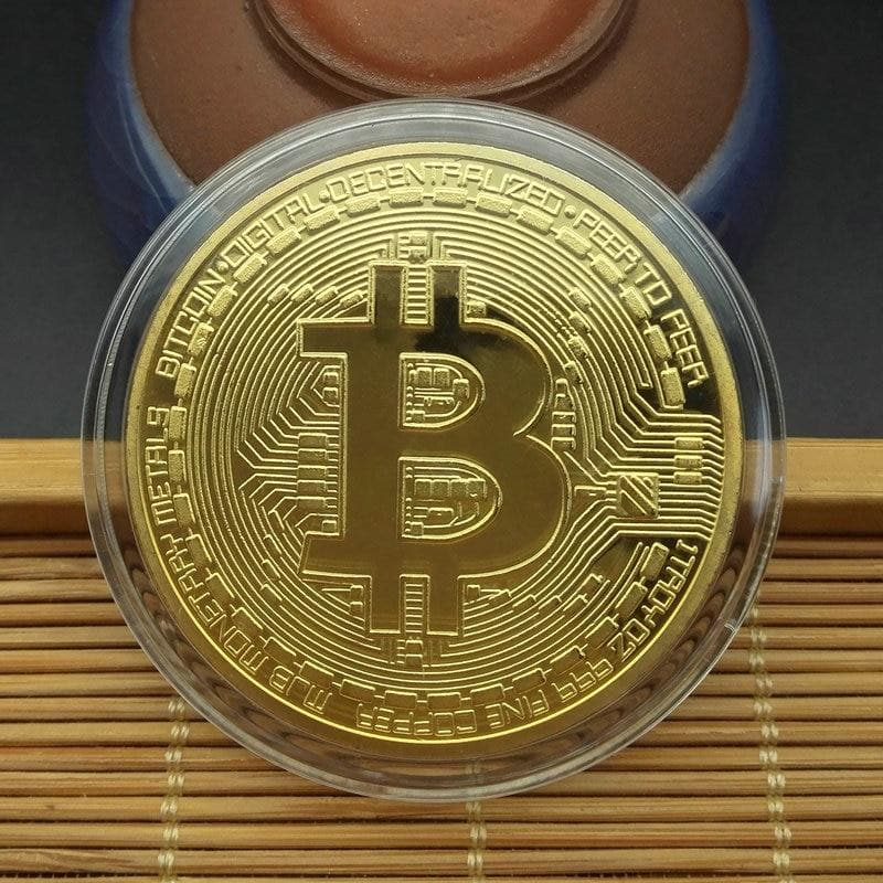 Gold Plated Bitcoin Coin - Crypto Cove