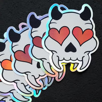 Holographic Heart Eyed Devil Skull Sticker