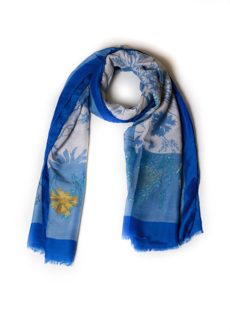 Printed Blue Scarf with Yellow Flowers