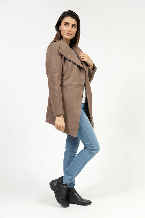 Coffee Melange Long Coat With Collar