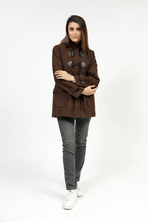 Brown Coat With Leather Patch Buttons