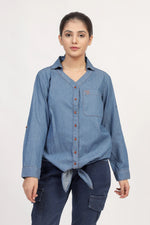 Denim Top With Front Knot