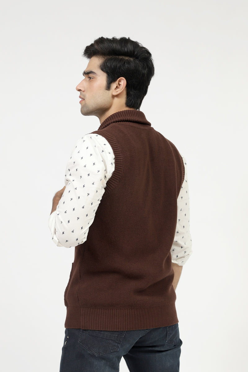Chocolate Sleeveless Sweater With Pockets