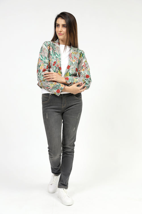 Multi Floral Jacquard Fish Cut Jacket