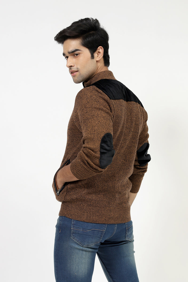 Melange Front Open Sweater With Elbow Patch