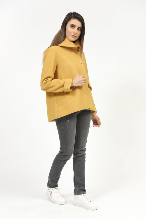 Mustard  Hooded Short Length Coat