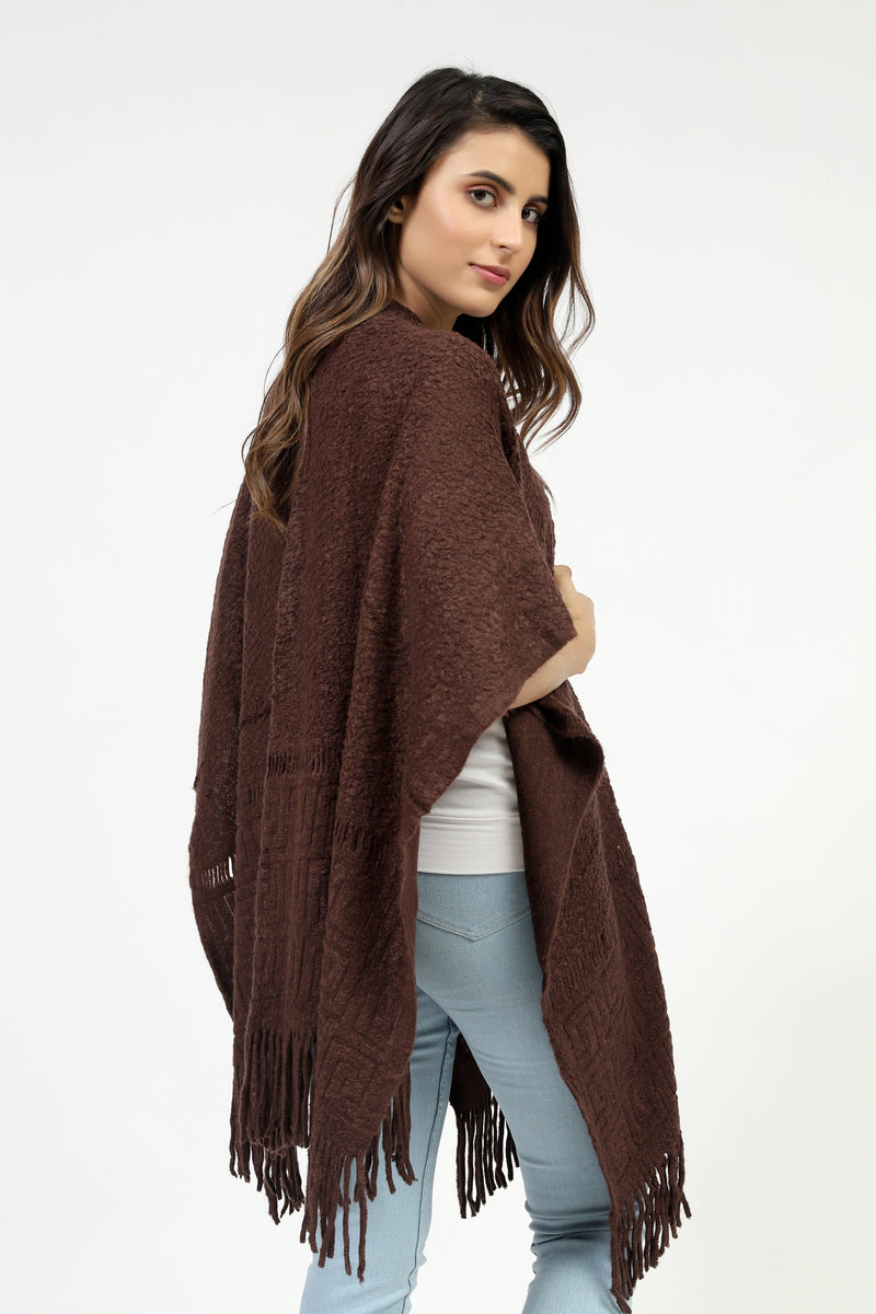Chocolate Cape Shawl With Textured Border