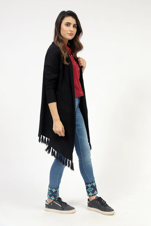 Black Wide Flared Sweater With Tassels