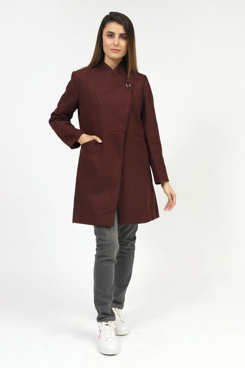 Maroon Long Coat With Collar