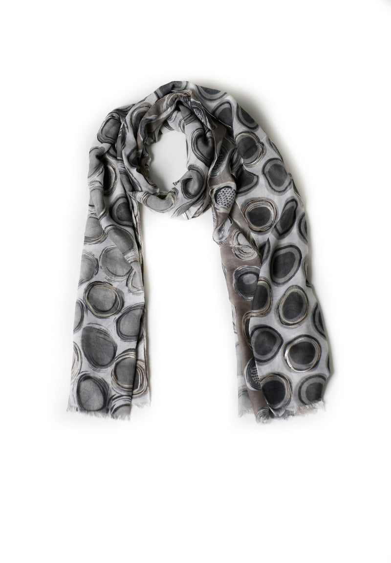 Gray And White Circle printed Scarf