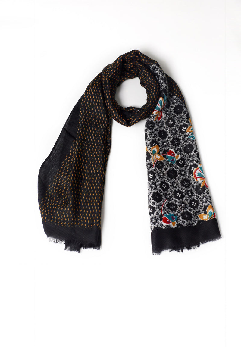 Patterned Black Scarf