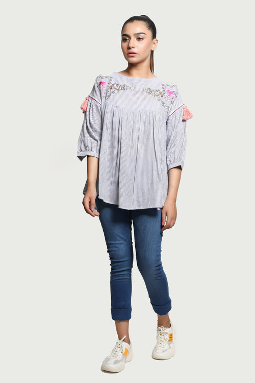Black Lining Embroidered Grey Top