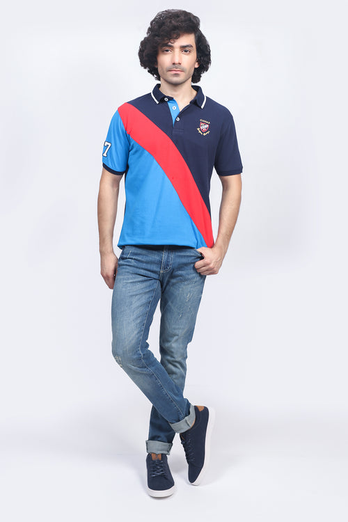 Light Blue Diagonal Stripe Polo