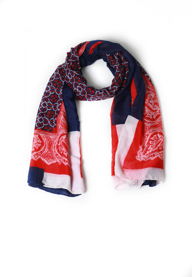Patterned Red and Blue Scarf