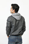 Buttoned Grey Jacket with Hoodie