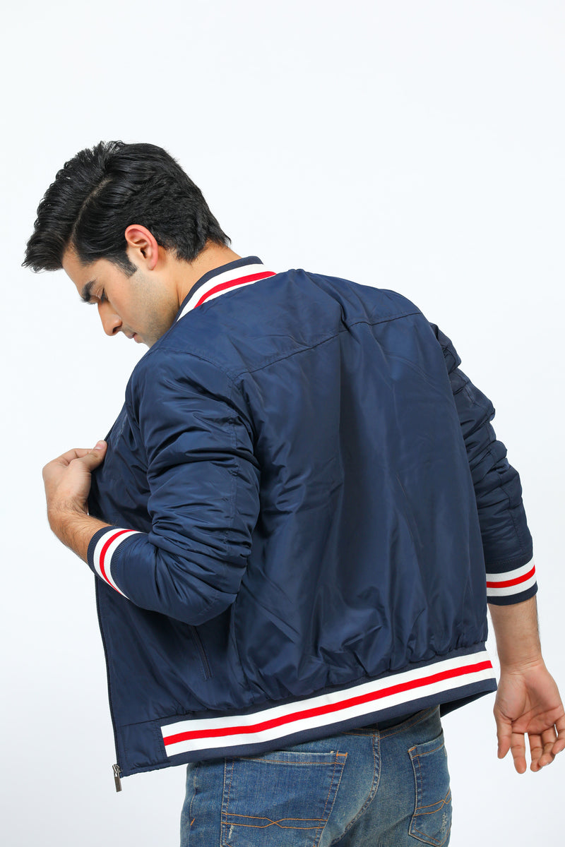 Navy Blue Bomber Jacket with Contrast Sleeve Bands