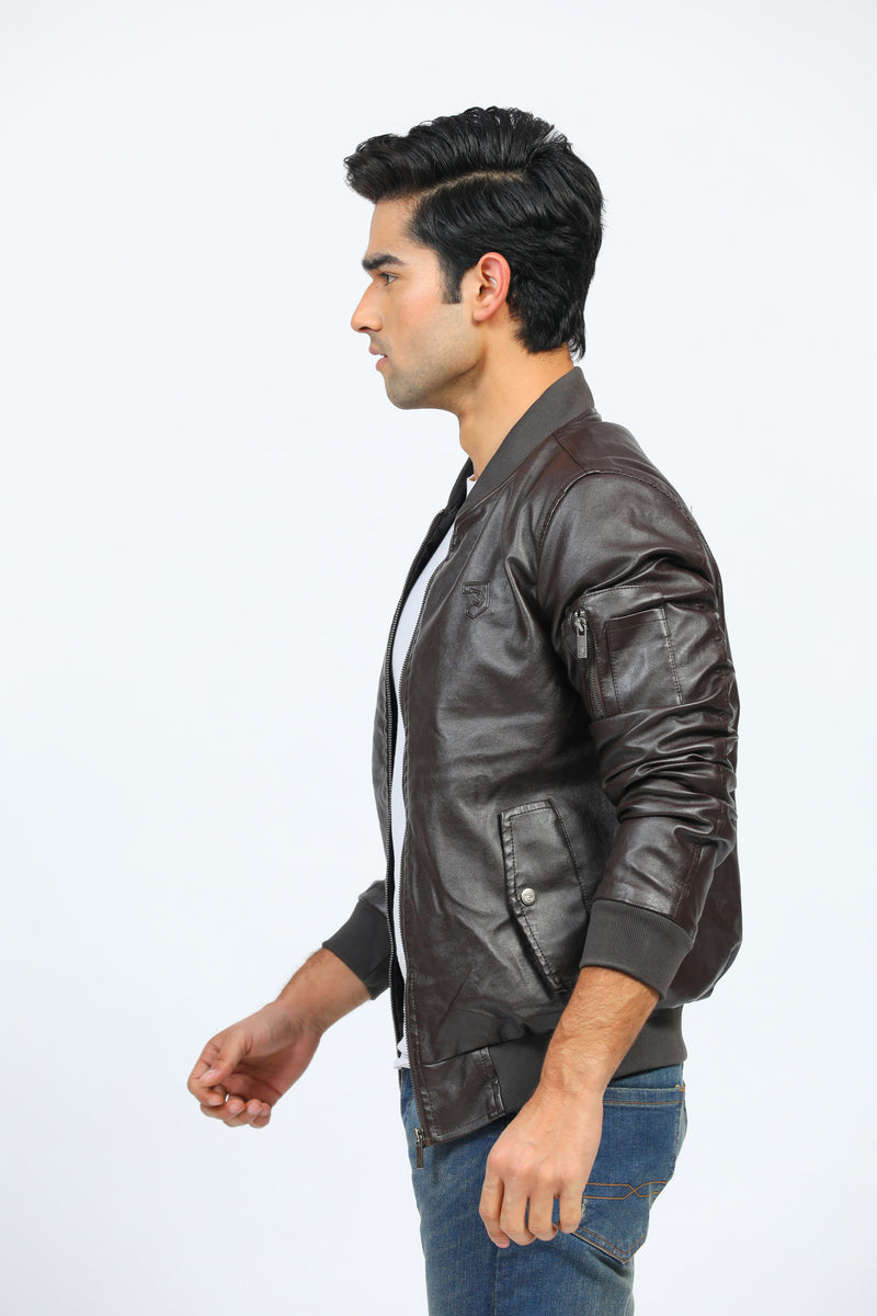 Coffee Faux Leather Jacket with Buttoned Pockets