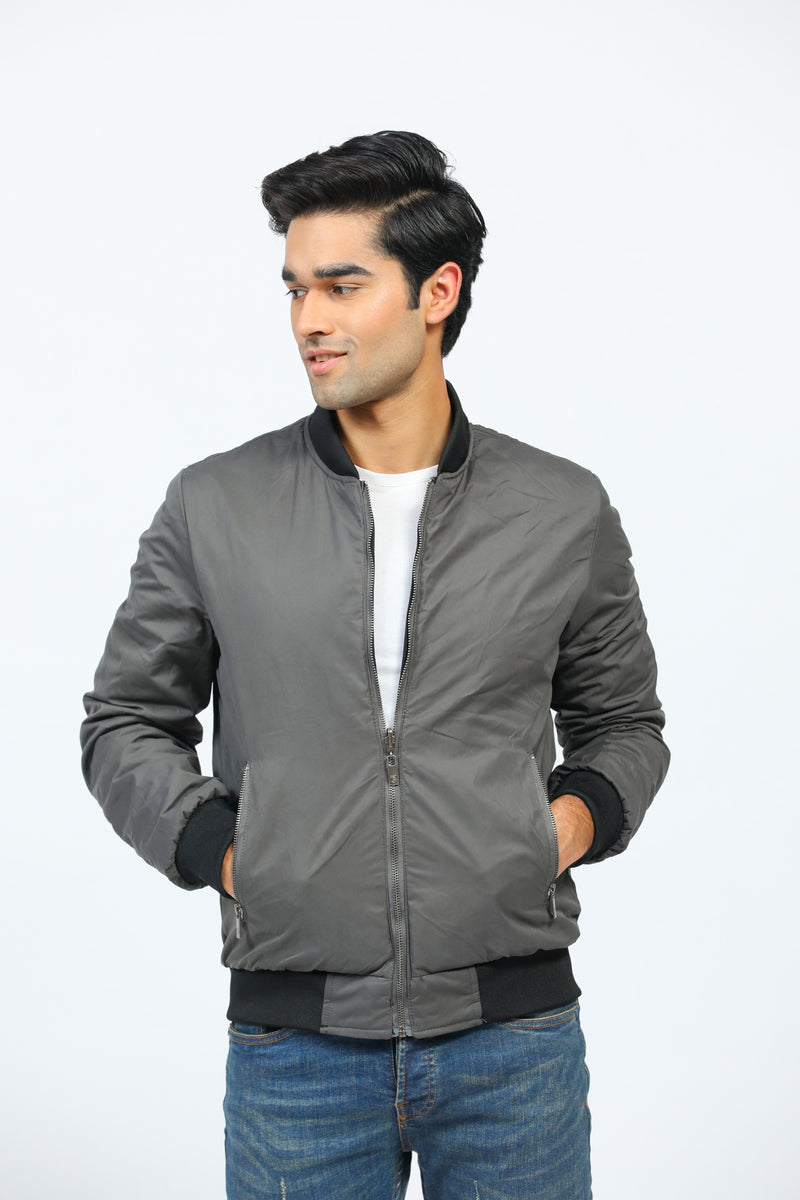 Reversible Black/Grey Bomber Jacket