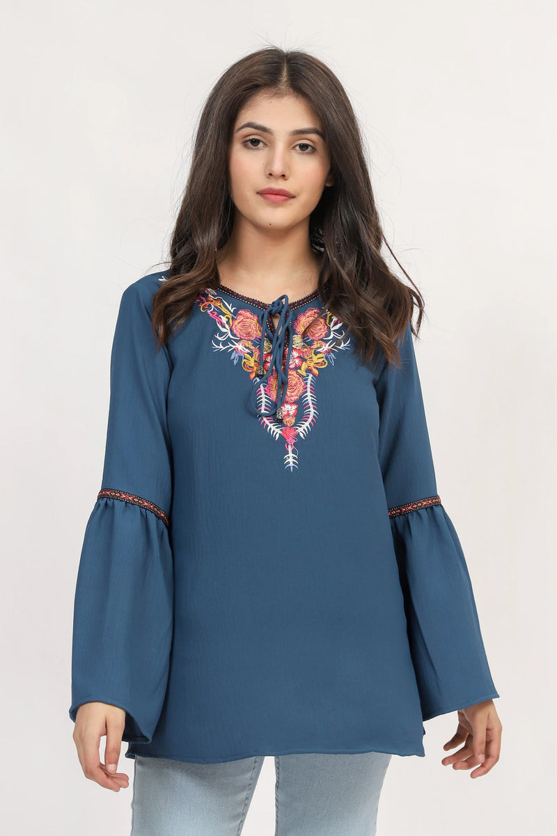 Navy Boho Embroidered Top
