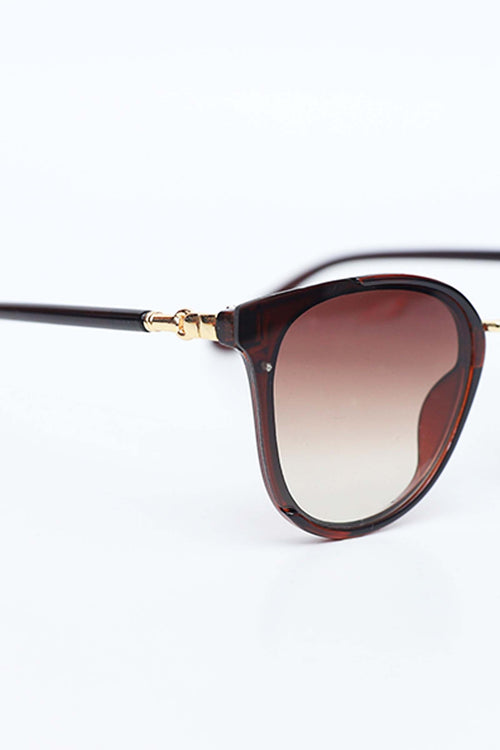 Brown Cat-eyed Sunglasses With Studded Legs