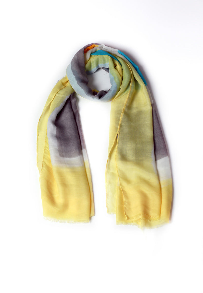 Yellow Brown Plain Scarf