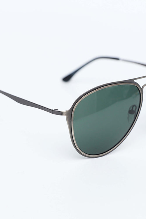 Silver Framed Aviators With Green Lens
