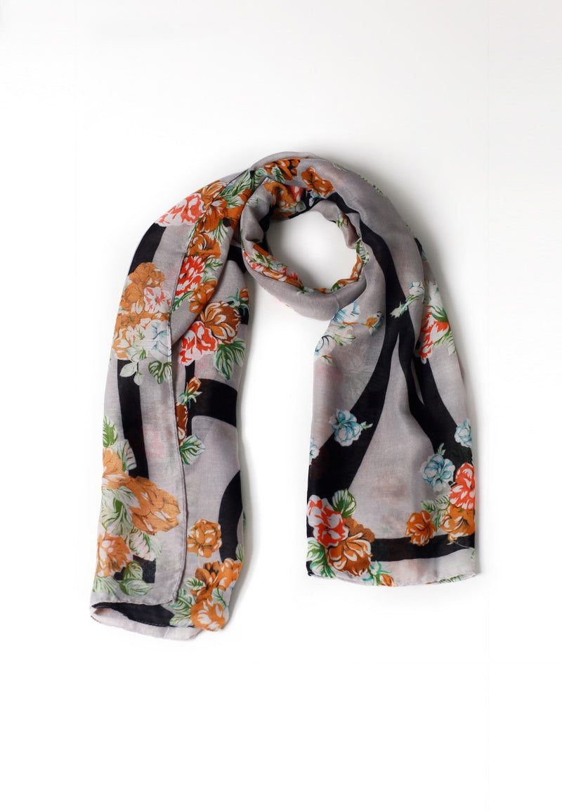 Black and white orange floral Scarf