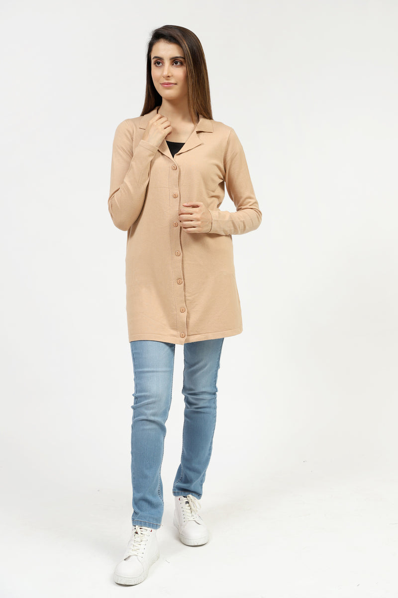 Skin Cardigan With Collar