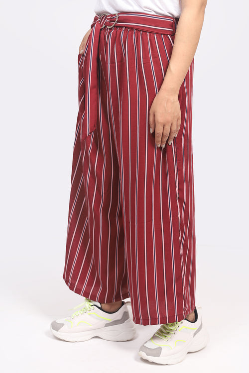 Maroon Stripes Culotte
